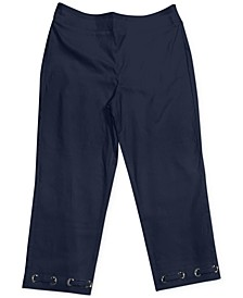Petite Loop Grommet-Hem Tummy-Control Capri Pants, Created for Macy's
