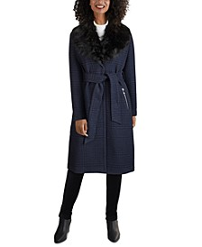 Faux-Fur-Collar Belted Wrap Coat