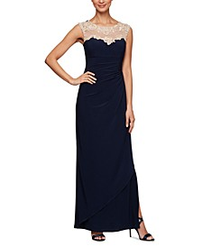 Petite Embroidered Illusion-Yoke Gown