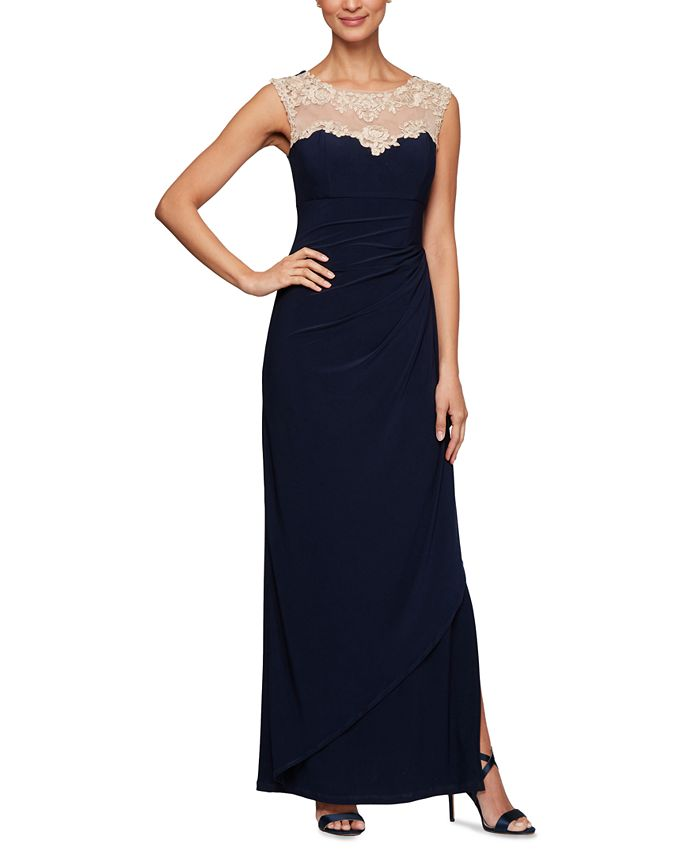 Alex Evenings - Sweetheart Illusion-Lace Gown