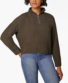 Juniors' Chenille Zip-Neck Sweater