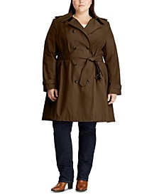 Plus Size Double Breasted Trench Coat, Created for Macy's