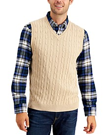 Men's Cable-Knit Sweater Cotton Vest, Created for Macy's