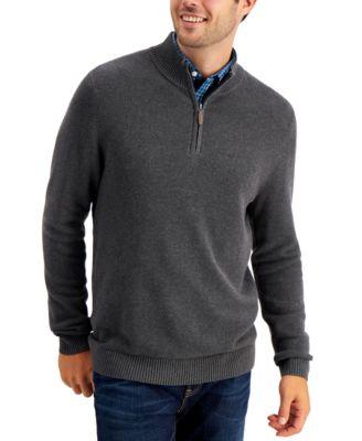 Men's Quarter-Zip Textured Cotton Sweater, Created for Macy's