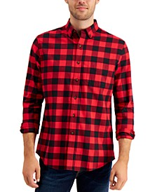 Men's Soft Brushed Cotton Plaid Shirt, Created for Macy's