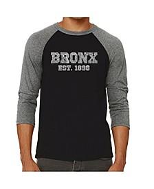 Bronx Neighborhoods Men's Raglan Word Art T-shirt