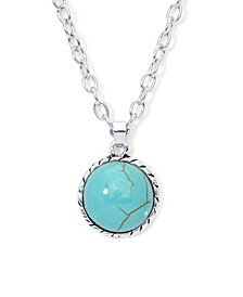 Simulated Turquoise Fine Silver Plated Round Twist Design Pendant Necklace