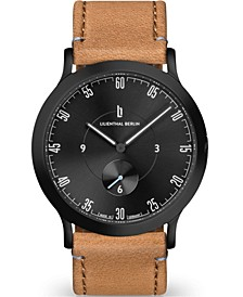 L1 All Light Brown Leather Strap Watch, 37.5mm