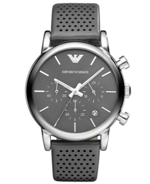 Emporio Armani Watch, Men's Chronograph Gray Leather Strap 41mm AR1735