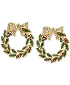 Gold-Tone Crystal & Stone Wreath Stud Earrings, Created for Macy's