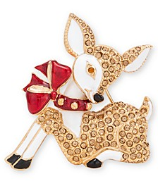 Gold-Tone Crystal Reindeer Pin, Created for Macy's