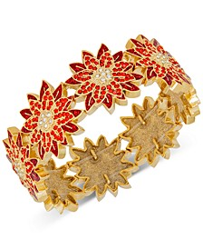 Gold-Tone Crystal & Glitter Poinsettia Stretch Bracelet, Created for Macy's