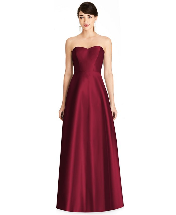 Alfred Sung - Strapless Satin Twill Gown