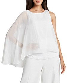Draped Chiffon-Overlay Top