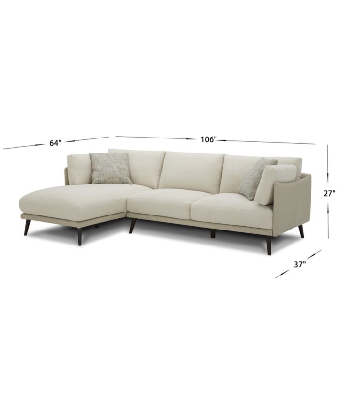 Furniture Marleese 2-Pc. Fabric and Leather Sofa with Chaise, Created for Macy's & Reviews - Furniture - Macy's