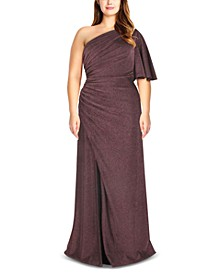 Plus Size Metallic Jersey Gown