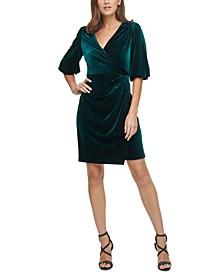 Velvet Bubble-Sleeve Faux-Wrap Dress