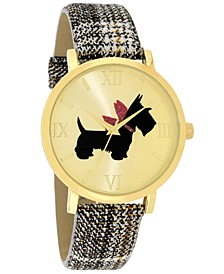 Women's Scottie Dog Black Plaid Strap Watch 40mm, Created for Macy's