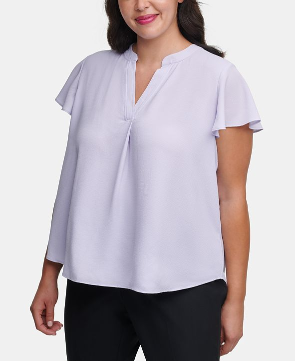 Calvin Klein Plus-Size Ruffle-Sleeve Top