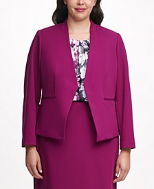 Plus Size Asymmetrical Cropped Blazer