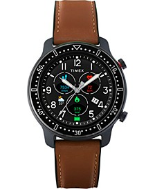 Men's Metropolitan R Brown Leather Silicone Strap Amoled Touchscreen Smart Watch with GPS Heart Rate 42mm