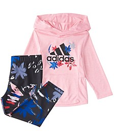 Baby Girls Long Sleeve Mélange Hooded Top & Printed Tight Set