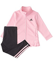 Baby Girls Long Sleeve Zip Front Ruffle Tricot Jacket & Tight Set