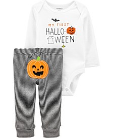 Baby Boy or Girl  2-Piece Halloween Pumpkin Bodysuit Pant Set