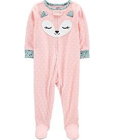 Baby Girl  1-Piece Fox Fleece Footie PJs