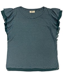 Striped Ruffle-Sleeve Top, Created for Macy's