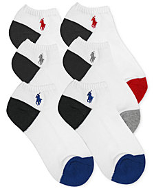 Polo Ralph Lauren 6-Pk. Color-Blocked No-Show Socks, Little Boys & Big Boys