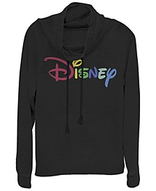 Women's Disney Logo Multicolor Disney Fleece Cowl Neck Sweatshirt