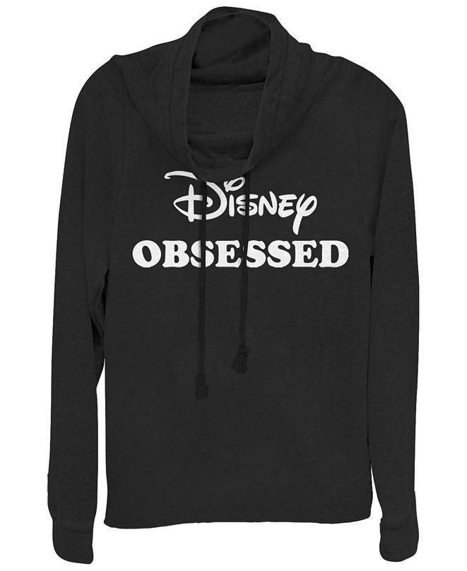 Fifth Sun Women's Disney Logo Disney and Chill Fleece Cowl Neck Sweatshirt