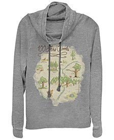 Women's Winnie the Pooh Acre Map Fleece Cowl Neck Sweatshirt