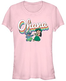 Women's Disney Lilo Stitch Rainbow Ohana Short Sleeve T-shirt