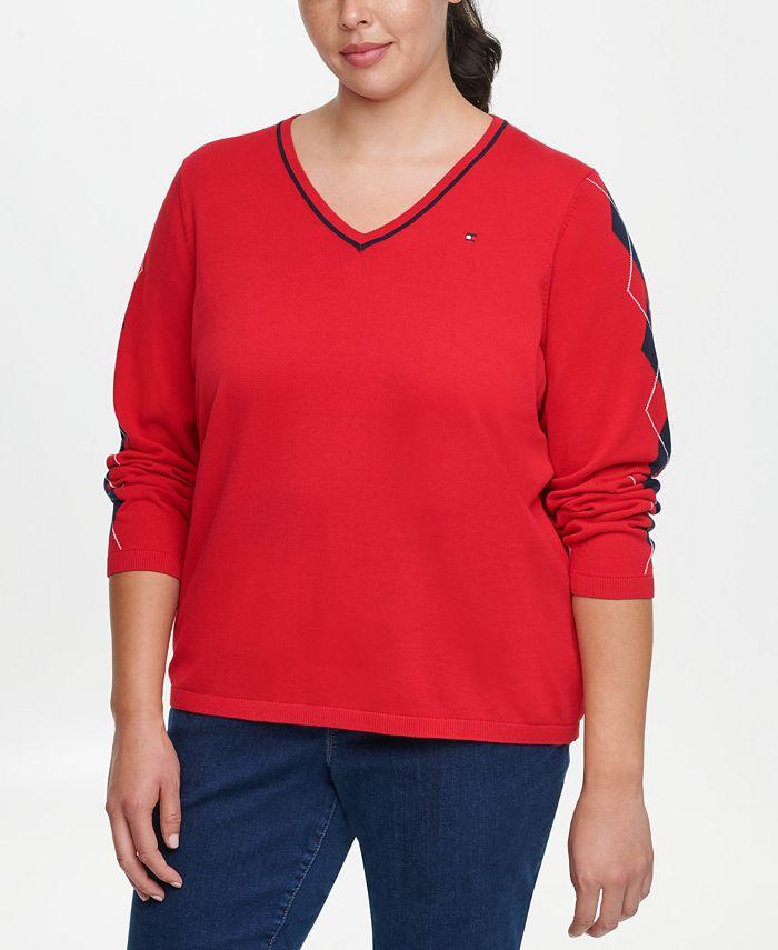 Tommy Hilfiger - Plus Size Ivy Cotton Argyle-Sleeve Sweater