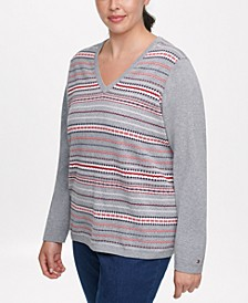 Plus Size Ivy Cotton Patterned-Stripe Sweater