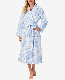 Mid-Weight Quilted Floral Wrap Robe
