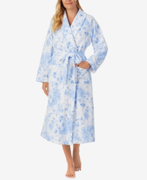 Eileen West MID-WEIGHT QUILTED FLORAL WRAP ROBE