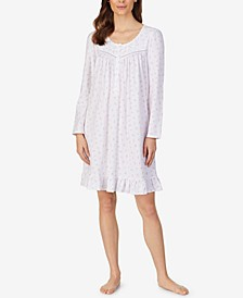 Long Sleeve Knit Cotton Nightgown