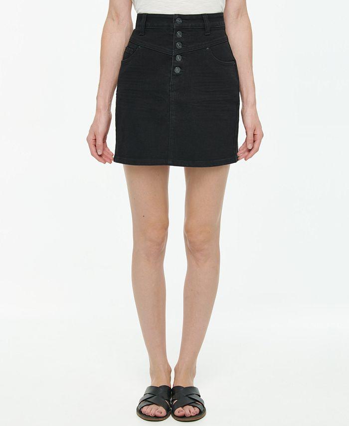 Vanilla Star - Juniors' Button-Fly Denim Mini Skirt