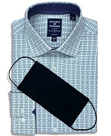 Receive a FREE Face Mask with purchase of the Society of Threads Men's Slim-Fit Non-Iron Performance Stretch Plaid Dress Shirt