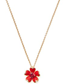 "Gold-Tone Stone Flower Pendant Necklace, 17"" + 3"" extender"