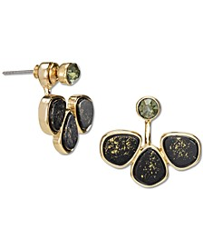 Gold-Tone Crystal & Gold-Fleck Black Stone Front-and-Back Earrings