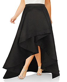 Plus Size Mikado High-Low Skirt