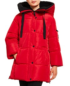 Juniors' Faux-Fur Lined Hooded Puffer Coat