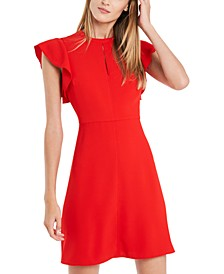 Gwyn Ruffle-Sleeve Crepe Dress, Created for Macy's