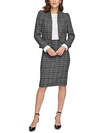 Petite Six-Button Blazer & Tweed Skirt