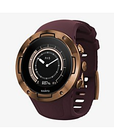 5 Men's Burgundy Copper Silicon Strap Compact GPS Sports Watch, 46mm