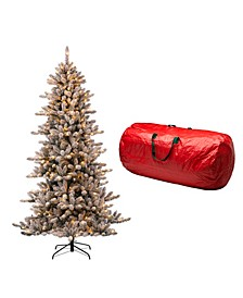 Pre-Lit Snow Flocked Fir Artificial Christmas Tree with 400 Warm Lights, with Storage Bag